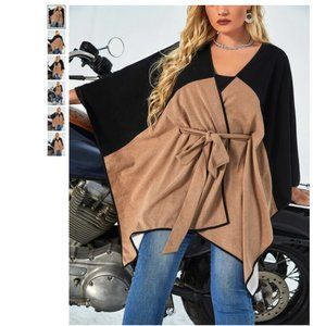 Plus Size Two Tone Belted Cape/Poncho